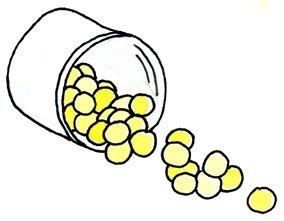 Tabletten kullern aus Dose
