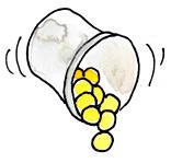 Pillen fallen aus Becher