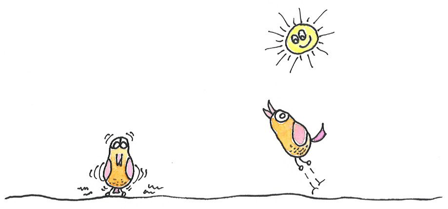 2 Vögelchen mit Sonne